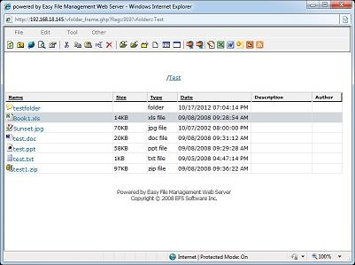 Easy File Management Web Server is a web based file management software.